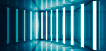 Abstract blue room interior with stripes of neon lights and reflections. Futuristic architecture background. 3d render illustration