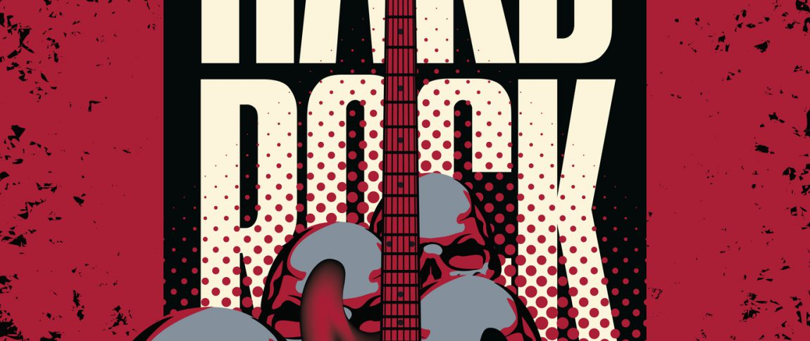 banner with a guitar human skulls and the words hard rock