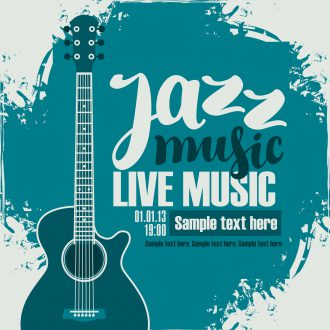 poster for the jazz festival with acoustic guitar