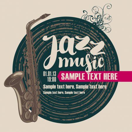 cover cd disc vinyl records, saxophone and jazz music inscription