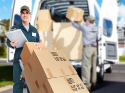 Delivery courier. Shipping and moving service background.